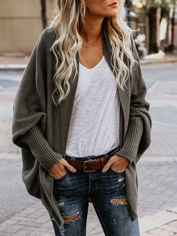 Long Sleeve Casual Solid Knitted Shift Cardigan