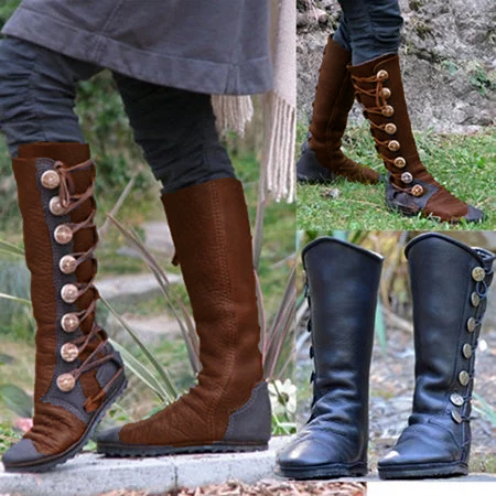 Women Fashion  Side Buttons Bandage Boots