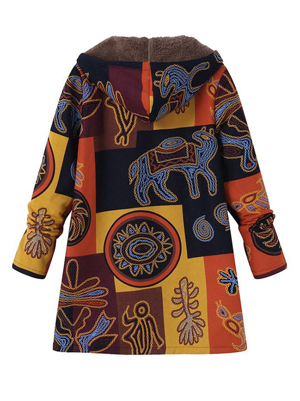 Long Sleeve Hoodie Casual Abstract Plus Size Coat