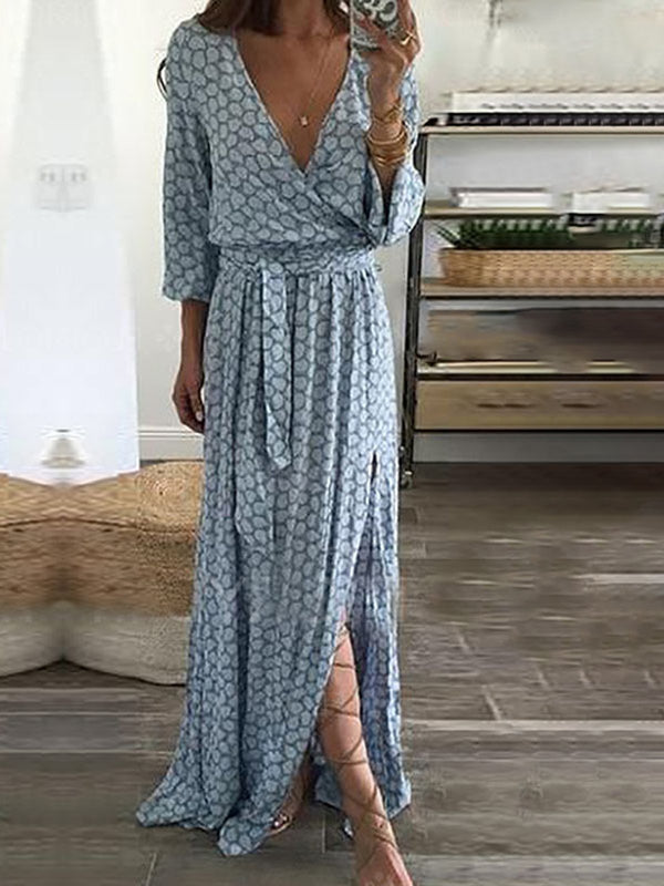 V neck Light blue Women Going out 3/4 Sleeve Geometric Floral Dress
