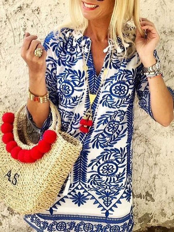 Half Sleeves Boho Vintage Casual Shift Dress