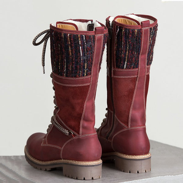 Waterproof Paneled Boots Casual Mid-calf Warm Boots