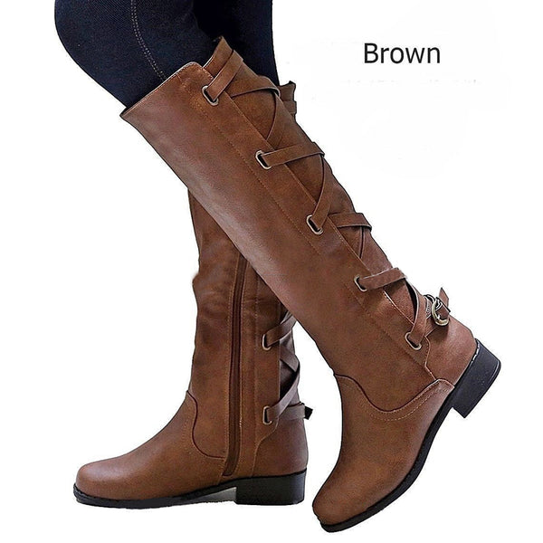 PU Chunky Heel Zipper Casual Winter Women Boots