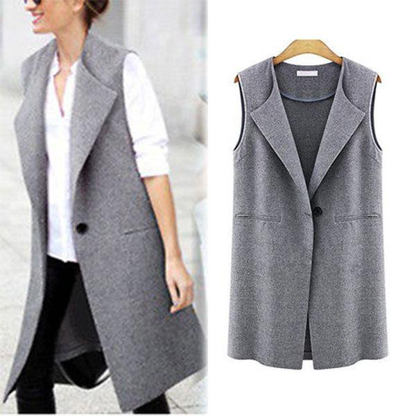 Solid Sleeveless Casual Plus Size Vests