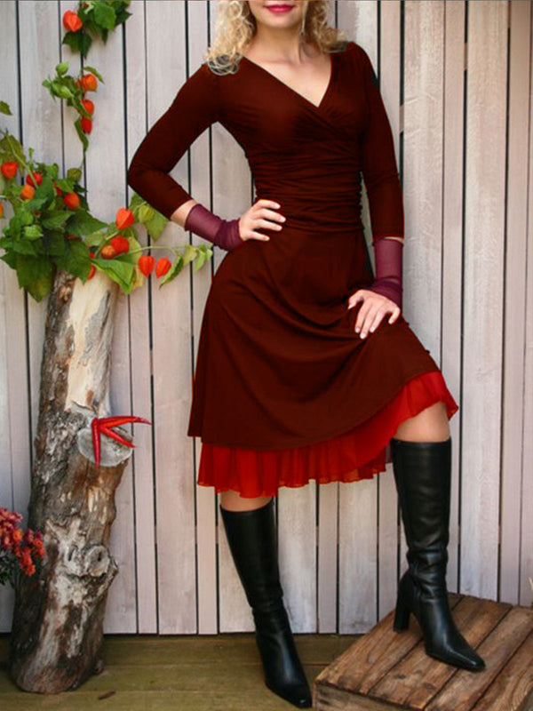 Paneled Solid Vintage Dresses