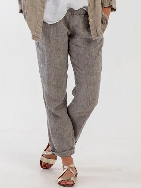 Linen Casual Plain Pants