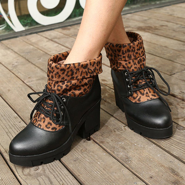 Women Leopard Casual Date Lace Up Chunky Heel Boots