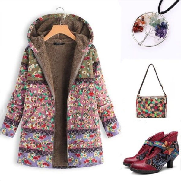 Patchwork Hoodie Casual Floral Printed Quilted Coat