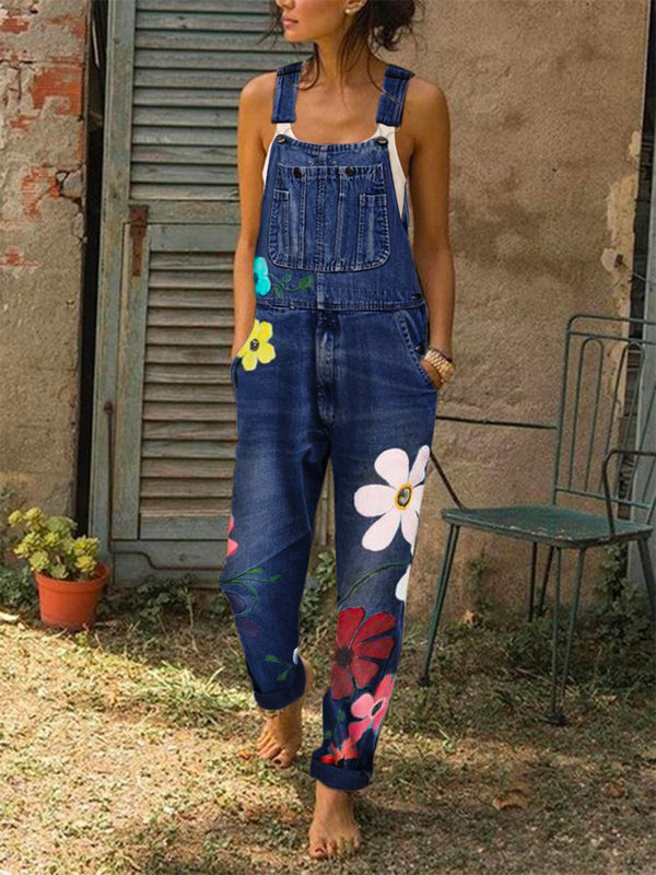 Sleeveless Denim Floral Floral-Print One-Pieces