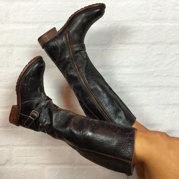 Zipper Daily Vintage Chunky Heel Boots