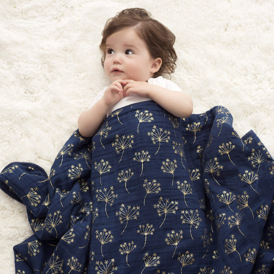 Metallic Gold Deco Dandelion - Muslin Dream Blanket by Aden and Anais