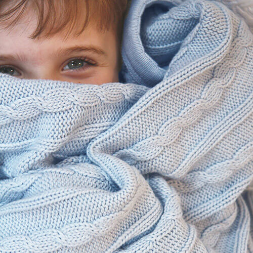 Cable Blue - Blanket by Branberry