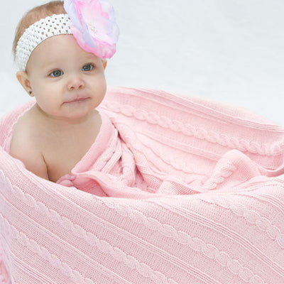 Cable Pink - Blanket by Branberry