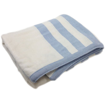 Triple Stripe Blue - Blanket by Branberry