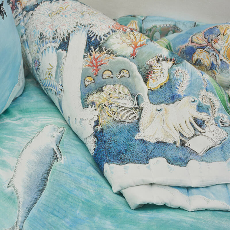 Legends of the Sea - Reversible Quilted Baby Blanket by Forivor