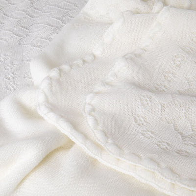 Ivory White Leaves and Flowers - Baby Blanket / Shawl by G H Hurt and Son