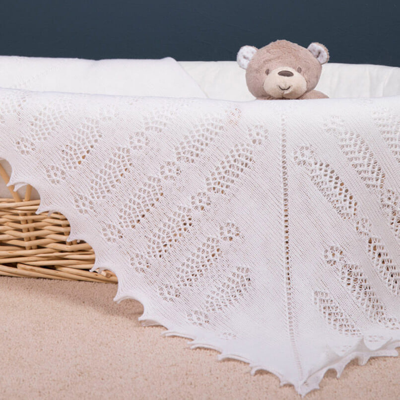 Nottingham Lace Knitted - Baby Blanket / Shawl by G H Hurt and Son