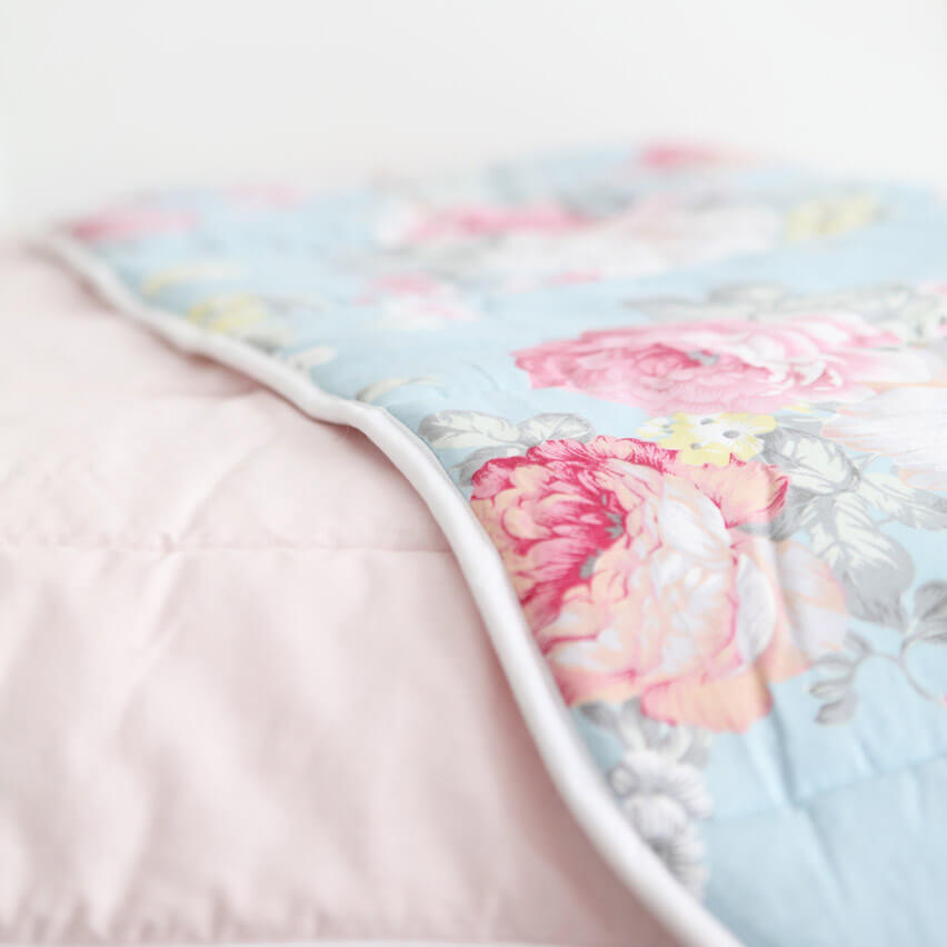 Blooms Blue - Baby Quilt by Tilly and Otto
