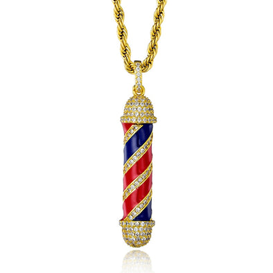 Barber Pole Pendant Necklace (Gold)