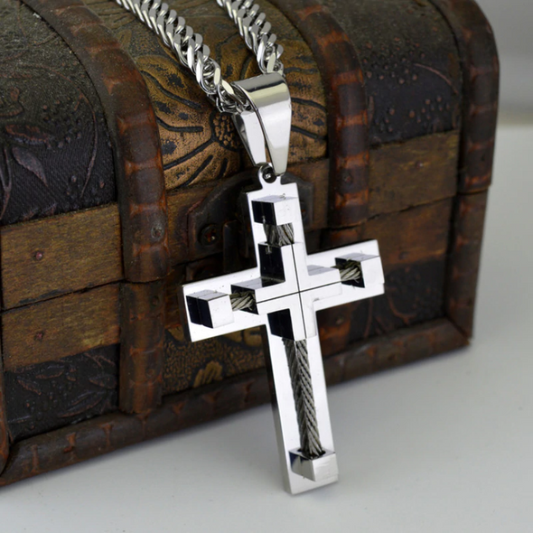 Stainless Steel Cuban Link Cross Necklace