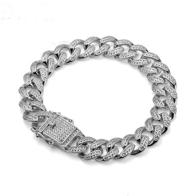 17 mm Heavy Cuban Link Bracelet (White Gold)