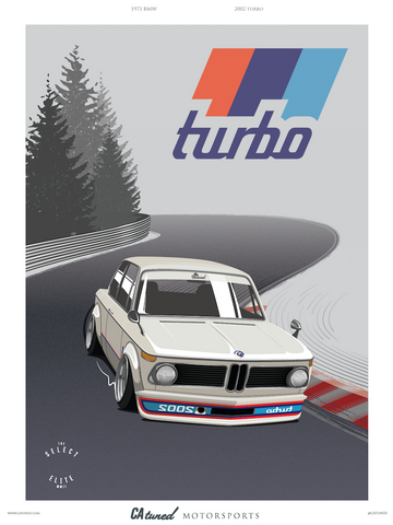CATUNED BMW Turbo 2002 Track Poster 18X24