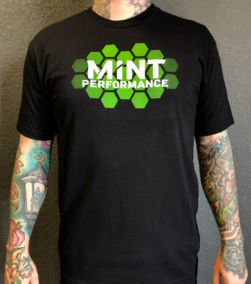Mens Mint Performance Hexagon Gradient Black T-Shirt