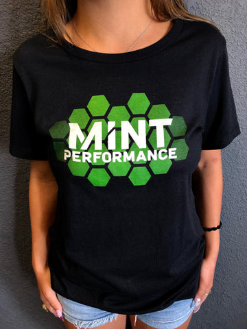 Womens Mint Performance Hexagon Gradient Black T-Shirt