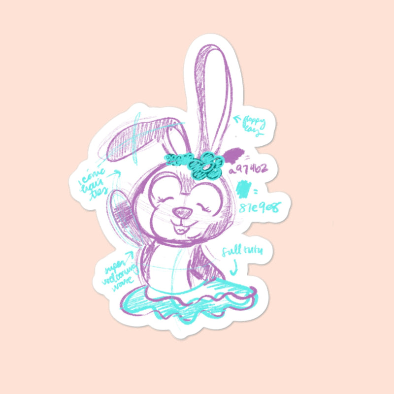 BUNNY FURRY FRIEND - 4x4 STICKER