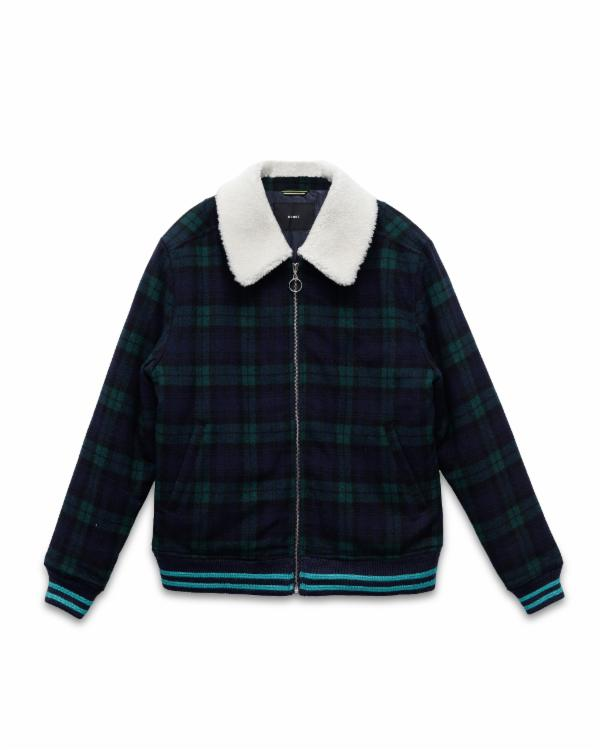 Jake Mayfield : WOOL PLAID JACKET WIITH SHERPA COLLAR / ACE