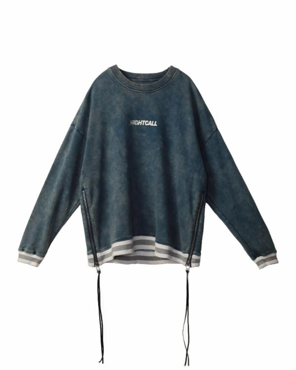 Jimin Kim : KS SWEATSHIRT W/ACID WASH AND ZIPPER / STEVE
