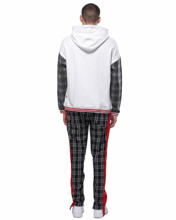 Sophia Harding : PULL OVER HOODIE WITH PLAID SLEEVE / SAUL