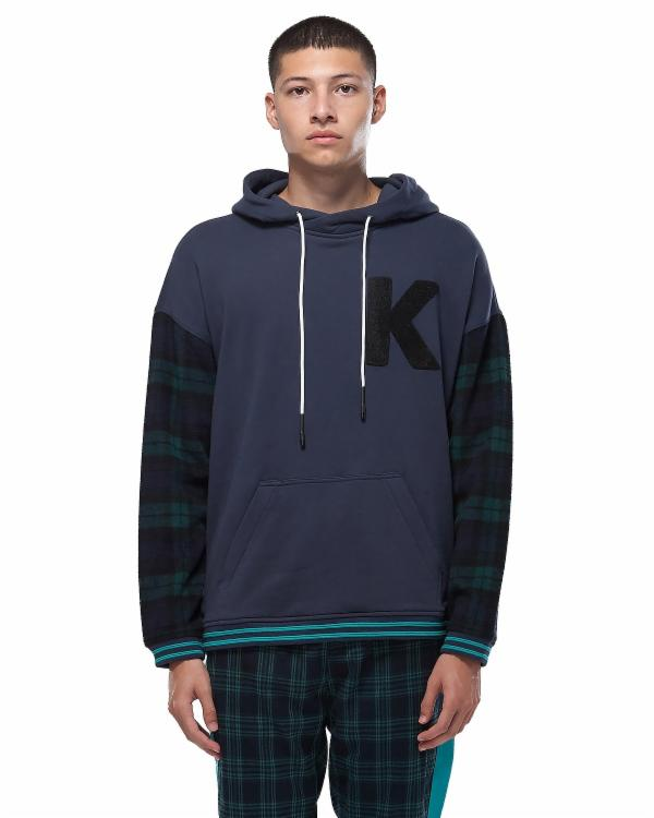 PULL OVER HOODIE WITH PLAID SLEEVE / SAUL