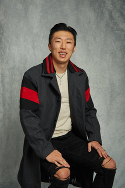 David Kim : WOOL COAT WITH RED STRIPES / ARLO