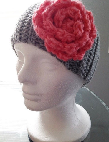 Crochet Ear Warmer Headband Graypink Retro Dolls Us