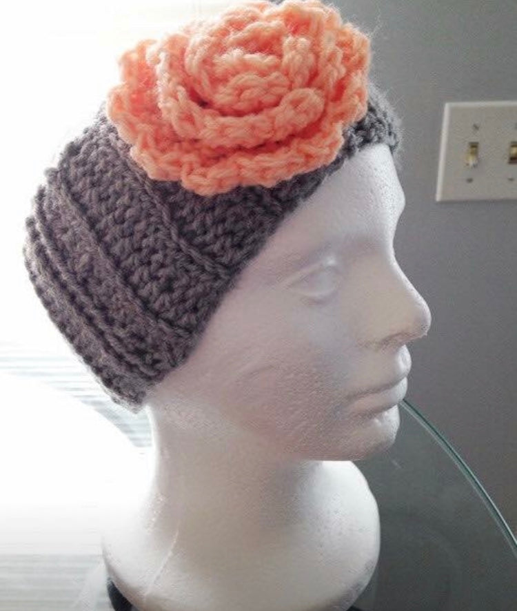 Crochet Ear Warmer Headband Handmade Graypeach Retro Dolls Us