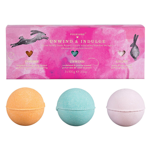 Folklore Bath Fizzer Set of 3 - Unwind & Indulge