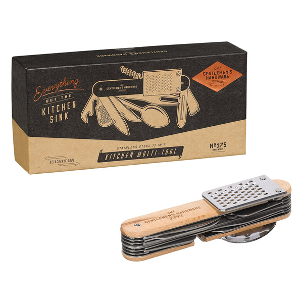 Gentlemen's Hardware 12 in 1 Kitchen Multi-Tool with twelve stainless steel accessories out of box