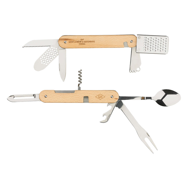 Gentlemen's Hardware 12 in 1 Kitchen Multi-Tool with twelve stainless steel accessories on display