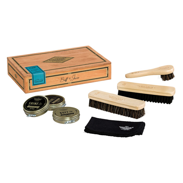 Gentlemen's Hardware Shoe Shine Kit in Wooden Cigar Box, including Polish, Brushes, Dauber and Polishing Cloth