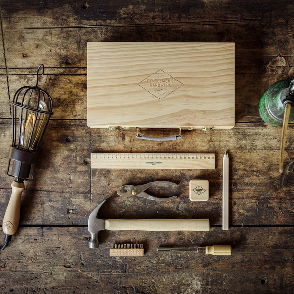 Gentlemen's Hardware Tool Kit in Pine Wood Box