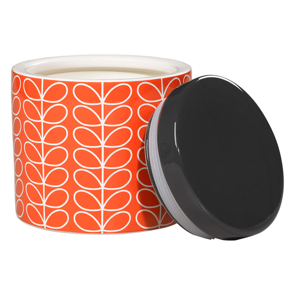 Orla Kiely Large Storage Jar, Linear Stem Design in Persimmon