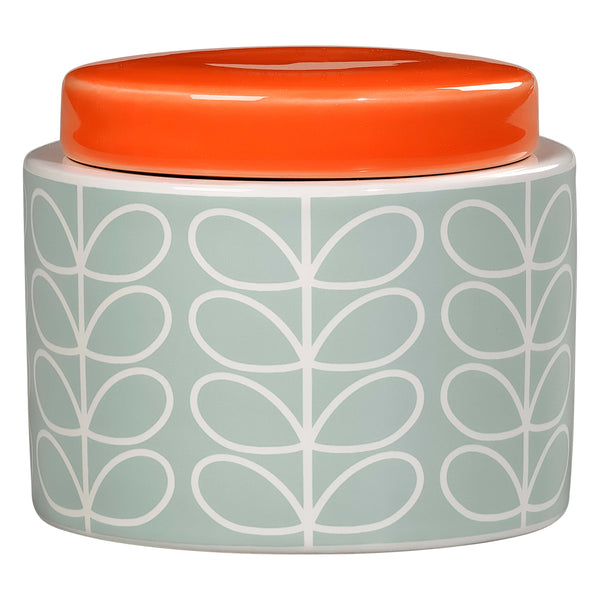 Orla Kiely Small Storage Jar, Linear Stem Design In Duck Egg Blue