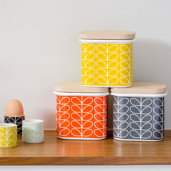 Orla Kiely Enamel Storage Jar, Linear Stem Design in Slate
