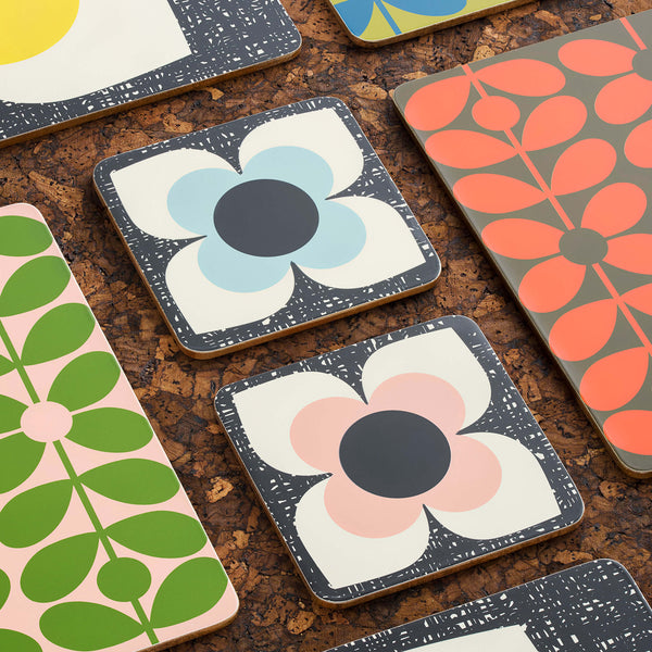 Orla Kiely Coasters Set of 6 Scribble Square Flower