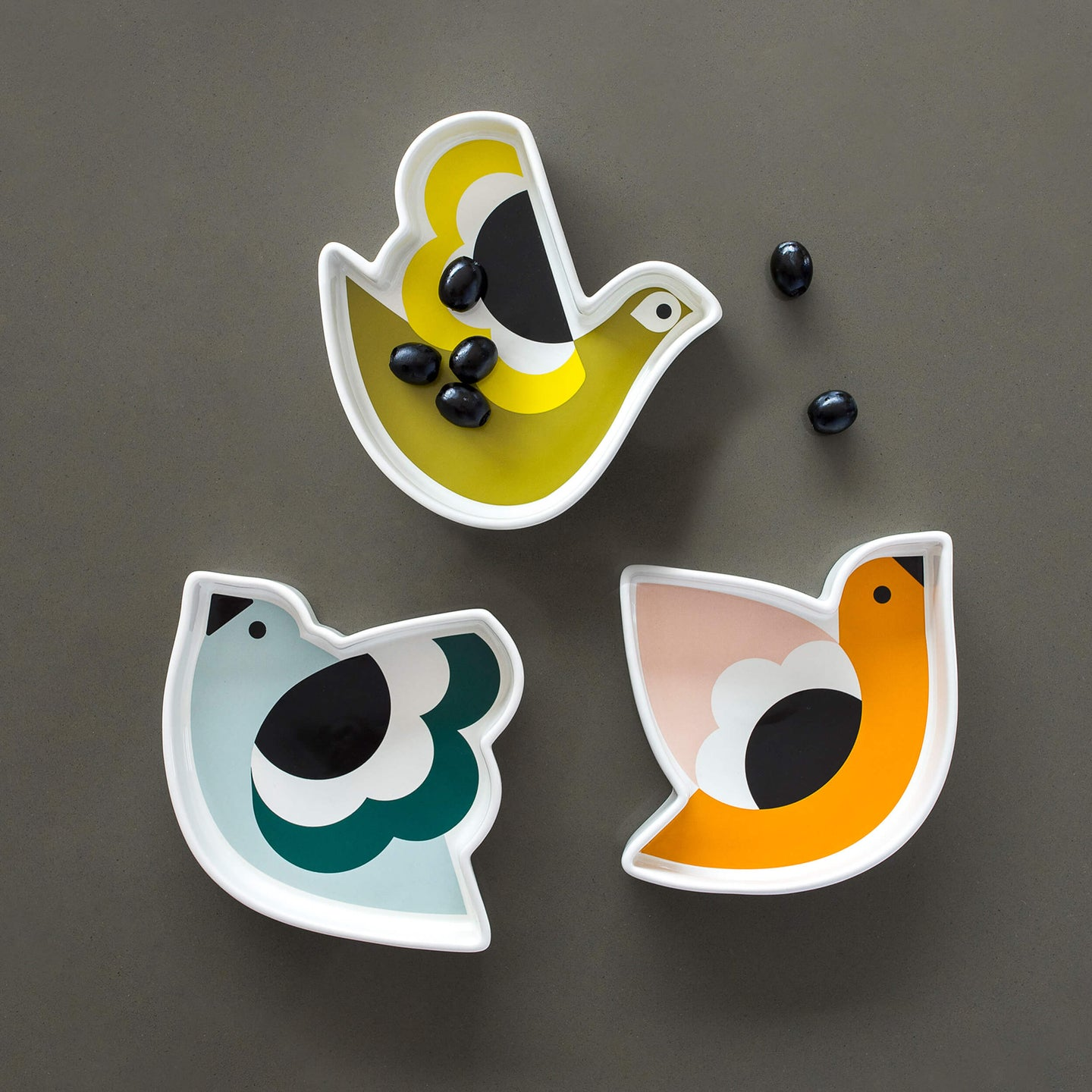 Orla Kiely Snack Dishes, Set of 3 Bird Designs