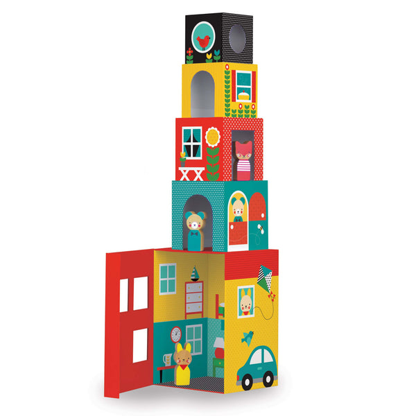 Petit Collage Peek-a-Boo House Stacking Blocks Play Set