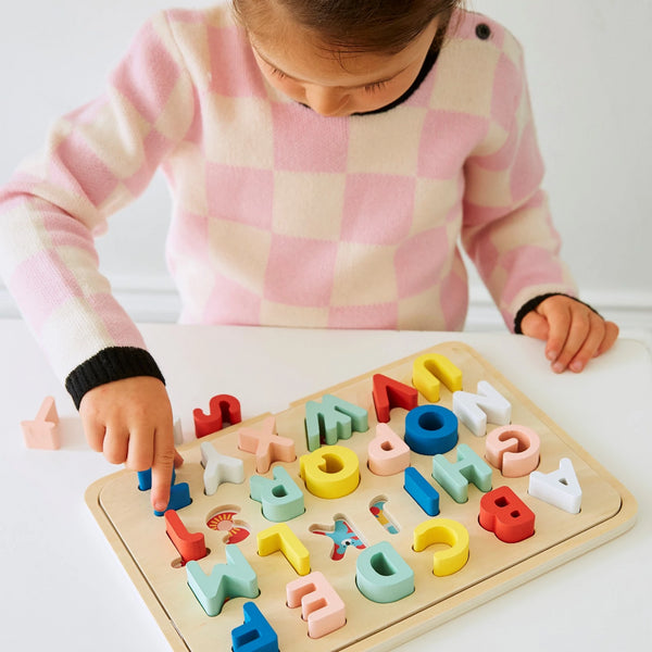 Petit Collage Multi-Language Wooden Alphabet Tray Puzzle for Children aged 3 and over