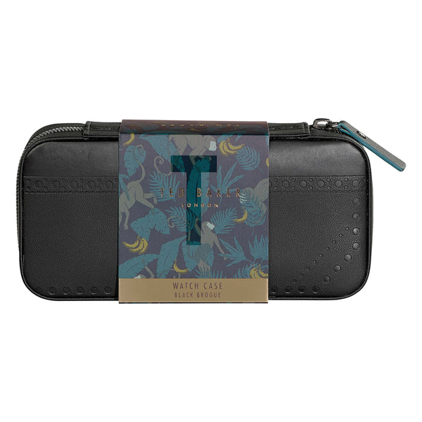 Ted Baker Travel Watch Case, Black Brogue Monkian Design