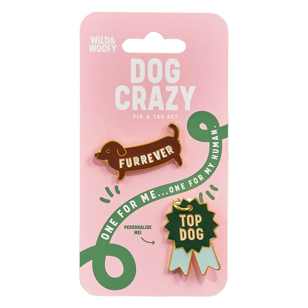 Wild & Woofy 'Dog Crazy' Pin & Tag Set